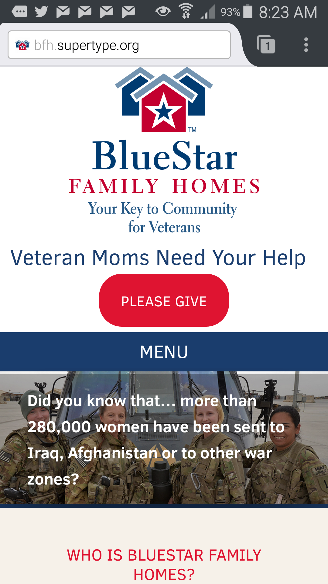Nonprofit mobile site example