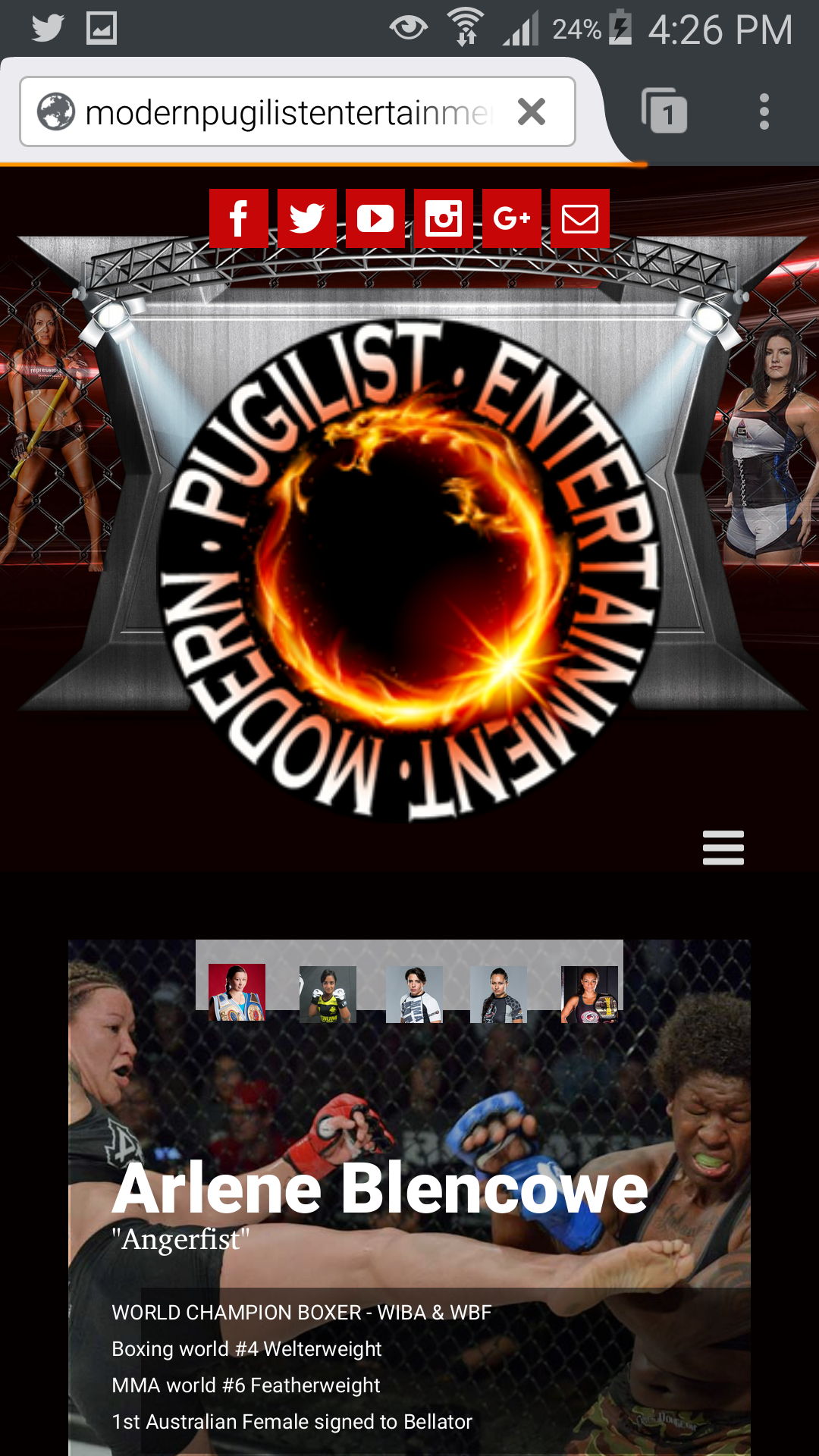 MMA mobile site screenshot